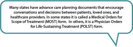 Advance care planning forms can be a MOST, POST, POLST or MOLST form.